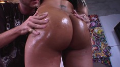 Enticing young Latina with a wonderful booty wildly fucks a long pole