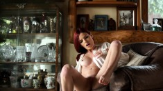 Angelic redhead with perfect tits and ass fingers her peach to orgasm