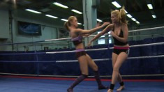Katalin and Lily Love strip off there clothes as they wrestle to find the pussy