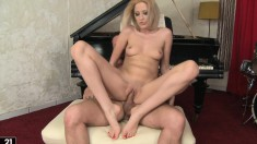 Skinny blonde seduces the piano teacher to fulfill her foot fantasy