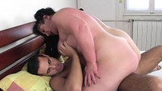 Chunky dark-haired tart is eager to take this cock deep inside her twat