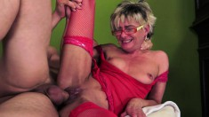 Kinky blonde milf in red lingerie gets her snatch devoured and banged