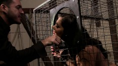 He takes out his slave for some raunchy sex and a messy facial