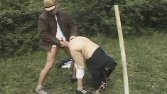 Big tit grandma is outside getting her cunny dicked by the gardener