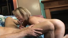 Lustful blonde mom Erika has a young man licking and fucking her slit