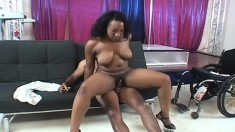 Chunky Tiffany Stacks gives a dude in a wheelchair head and a cock ride