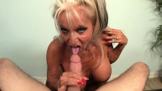 Lucky young man Billy has a big breasted milf sucking his long shaft