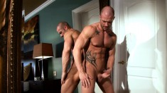 Two studs start by jerking and then get together to jack off