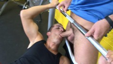 Pretty boy wraps his sexy lips around the gym instructor's long dick