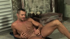 Hot guy Sergio Soldi caresses his fabulous body and sucks his own cock
