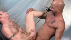 Hot guy wears a jockstrap while bending over to get his ass drilled