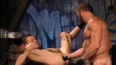 Fabulous guy has a stiff cock, a large toy and a fist invading his ass