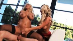 Hot babe Shyla Stylez and friend go for it hard in a wild threesome