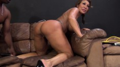 Bodacious cougar Ava Devine has a black stallion hammering her holes