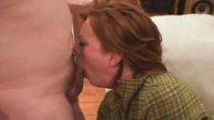 Hot lady Kayce deepthroats a long rod and enjoys a rough anal fucking