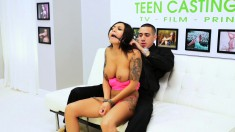 Tattooed brunette with big hooters Natalia Mendez enjoys a long stick