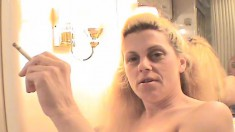 Trashy blonde whore Jean fucks a raging prick and enjoys a cigarette