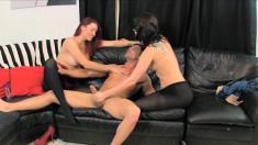 Wild boy has Amiee Cambridge and Catherine Foxx pegging his tight ass
