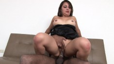 Slutty young starlet lets this hung black dude shove it up her butt
