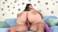 Chubby brunette Sapphire is in need of a stiff pole filling her pussy
