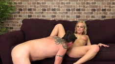 Charming Blonde With Big Tits Gets Her Shaved Slit Devoured And Fucked