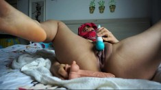 slut little asian slut fingering herself on live webcam
