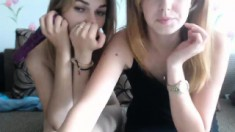 Two teen lesbian playing with each other on webcam