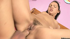 Babysitter with a tattoo on her ass rides a dick to the base