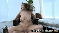 Natasha gets her cunt pounded and then goes doggy and rides on top