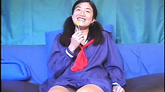 Cute Oriental schoolgirl reveals her sexy body and gets fucked hard by an older guy