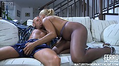 Big tit mature Hannah gets young buck Benjamin M to fuck her in crotchless nylons