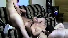 Hot twink has two horny older dudes roughly fucking his tight anal hole