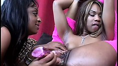 Two black hotties taste each other's juicy peaches and drill them with sex toys