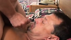 Two horny amateur guys enjoy lots of sucking and fucking on a hotel bed