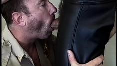 Bad cop gets a piece of his handsome partner's big meaty baton