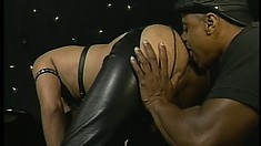 Two gay black daddies role play master and slave in the dungeon