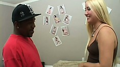 Sweet blonde with a well-shaped ass and perky boobs has a passion for black cock