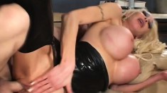 Huge breasted blonde cougar in latex gets nailed hard by a young stud