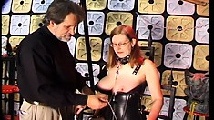 Filthy redhead sex slave gets roughly punished by an aggressive guy