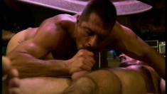 A bunch of randy dudes climb on the pool table for some steamy anal