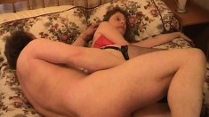 Nasty older lady gets her loose cunt filled up with throbbing cock