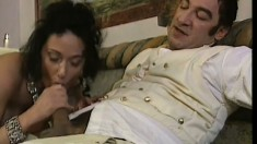 Provocative lady Erika grinds on her historical European lover's rod