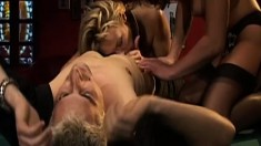 Two insatiable mature ladies sharing a hard prick on the pool table
