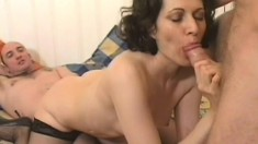Wild European babe gets fucked hard by two horny guys at the same time