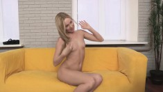 She's on the casting couch and gets filmed giving him a horny toss