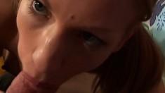 Blonde vixen Zuzana puts her lusty lips around a turgid cum gun