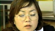 Naughty Asian babe with glasses lets her lover cum all over her face