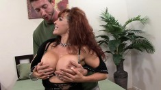 Big breasted redhead wife in lingerie has an affair with a younger guy