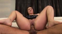 Slender schoolgirl Kristina Rose works her snatch on a throbbing dick