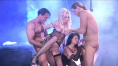 Blonde and brunette sluts getting fucked rough by a pair of hung guys